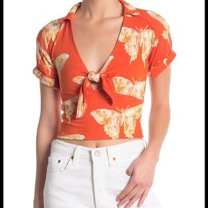 Free people Butterfly stretchy front tie Top Nwt